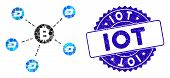 Mosaic Bitcoin Dash Network Icon And Grunge Stamp Seal With Iot Text. Mosaic Vector Is Composed From poster