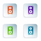 Color Stereo Speaker Icon Isolated On White Background. Sound System Speakers. Music Icon. Musical C poster
