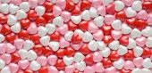 Valentines Hearts Background Of Red, Pink And White Candy Valentines Hearts. poster
