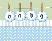stock photo of happy baby boy  - Baby boy arrival announcement card Baby girl arrival announcement card - JPG