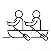 Boat Team Cooperation Icon. Outline Boat Team Cooperation Vector Icon For Web Design Isolated On Whi poster