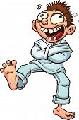 foto of straight jacket  - Crazy cartoon guy in a straight jacket - JPG