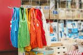 String Bags. Store With Many Different Colors String Bags, Basket. No Plastic, Zero Waste Concept St poster