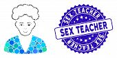 Mosaic Blonde Boy Icon And Grunge Stamp Seal With Sex Teacher Phrase. Mosaic Vector Is Composed With poster