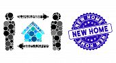Mosaic Men Home Exchange Icon And Corroded Stamp Seal With New Home Phrase. Mosaic Vector Is Formed  poster