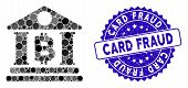 Mosaic Bitcoin Bank Building Icon And Rubber Stamp Seal With Card Fraud Text. Mosaic Vector Is Forme poster