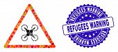 Mosaic Copter Danger Icon And Rubber Stamp Seal With Refugees Warning Text. Mosaic Vector Is Compose poster