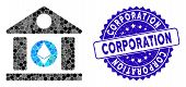 Mosaic Ethereum Corporation Building Icon And Grunge Stamp Watermark With Corporation Caption. Mosai poster