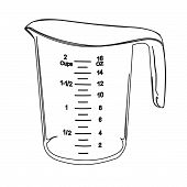 Measuring Cup Contour Vector Illustration Bake, Container, Contour, Cook, Cooking, Cookware, Cup, Di poster