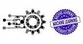 Mosaic Machine Learning Icon And Distressed Stamp Seal With Machine Learning Caption. Mosaic Vector  poster
