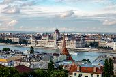 View Of The River Danube And Hungarian Parliament Building, Budapest, Hungary poster