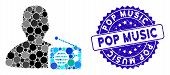 Mosaic Radio Dictor Icon And Rubber Stamp Seal With Pop Music Caption. Mosaic Vector Is Designed Fro poster