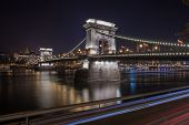Szechenyi Chain Bridge On The Danube River At Night. Budapest, Hungary. poster