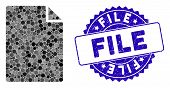 Mosaic New File Icon And Grunge Stamp Seal With File Caption. Mosaic Vector Is Composed From New Fil poster