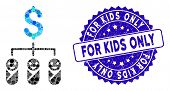 Mosaic Kid Budget Icon And Corroded Stamp Seal With For Kids Only Phrase. Mosaic Vector Is Composed  poster