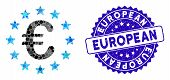 Mosaic European Union Icon And Distressed Stamp Seal With European Phrase. Mosaic Vector Is Designed poster