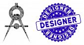 Mosaic Compasses Icon And Distressed Stamp Seal With Designer Phrase. Mosaic Vector Is Created With  poster