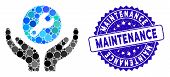 Mosaic Wrench Maintenance Icon And Corroded Stamp Seal With Maintenance Phrase. Mosaic Vector Is Des poster