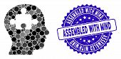 Mosaic Mind Icon And Rubber Stamp Watermark With Assembled With Mind Text. Mosaic Vector Is Composed poster
