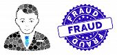 Mosaic Businessman Icon And Distressed Stamp Watermark With Fraud Text. Mosaic Vector Is Formed With poster