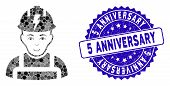 Mosaic Electrician Icon And Rubber Stamp Watermark With 5 Anniversary Text. Mosaic Vector Is Designe poster
