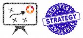 Collage Health Strategy Icon And Rubber Stamp Seal With Strategy Phrase. Mosaic Vector Is Formed Wit poster