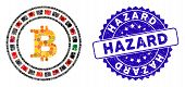 Collage Bitcoin Casino Roulette Icon And Rubber Stamp Seal With Hazard Text. Mosaic Vector Is Formed poster