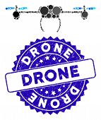 Collage Drone Icon And Grunge Stamp Seal With Drone Phrase. Mosaic Vector Is Composed From Drone Ico poster