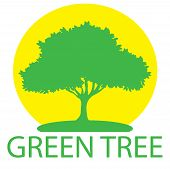 Set A Green Tree Circle With A Leaf Logo. Logo Tree Is Isolated On A Yellow Background. Herbal Leaf, poster