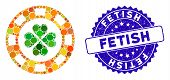 Mosaic Lucky Casino Chip Icon And Rubber Stamp Seal With Fetish Caption. Mosaic Vector Is Created Wi poster