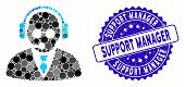 Mosaic Support Manager Icon And Rubber Stamp Seal With Support Manager Phrase. Mosaic Vector Is Comp poster
