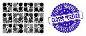Mosaic Lockers Icon And Corroded Stamp Seal With Closed Forever Phrase. Mosaic Vector Is Composed Wi poster