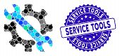 Collage Service Tools Icon And Grunge Stamp Seal With Service Tools Phrase. Mosaic Vector Is Created poster