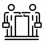Businessman Cooperation Icon. Outline Businessman Cooperation Vector Icon For Web Design Isolated On poster