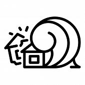 Disaster House Tsunami Icon. Outline Disaster House Tsunami Vector Icon For Web Design Isolated On W poster