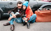 Hipster Fashion Couple Taking Selfie With Mobile Smartphone On Roadtrip - Wanderlust Concept With Fr poster