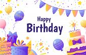 Happy Birthday Banner. Invitation Card For Party With Colorful Decoration Elements, Color Balloons A poster
