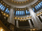 picture of boise  - The beautiful interior of the Idaho State Capitol building in Boise includes marble pillars and a sky - JPG