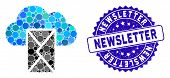 Mosaic Cloud Mail Icon And Rubber Stamp Watermark With Newsletter Caption. Mosaic Vector Is Formed W poster