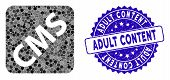 Mosaic Cms Icon And Grunge Stamp Seal With Adult Content Phrase. Mosaic Vector Is Composed From Cms  poster