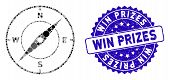 Collage Compass Icon And Grunge Stamp Seal With Win Prizes Caption. Mosaic Vector Is Composed With C poster
