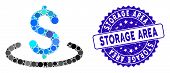 Mosaic Dollar Location Icon And Rubber Stamp Seal With Storage Area Phrase. Mosaic Vector Is Compose poster