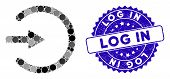 Mosaic Entrance Icon And Grunge Stamp Seal With Log In Text. Mosaic Vector Is Created With Entrance  poster