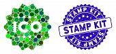 Mosaic Ico Token Icon And Distressed Stamp Watermark With Stamp Kit Text. Mosaic Vector Is Formed Wi poster