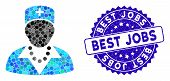 Mosaic Nurse Icon And Rubber Stamp Seal With Best Jobs Text. Mosaic Vector Is Composed With Nurse Ic poster