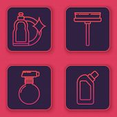 Set Line Cleaning Spray Bottle With Detergent Liquid , Squeegee, Scraper, Wiper And Plastic Bottles  poster