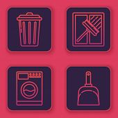 Set Line Trash Can , Washer , Squeegee, Scraper, Wiper And Dustpan . Blue Square Button. Vector poster