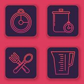Set Line Kitchen Timer , Crossed Fork And Spoon , Cooking Pot And Kitchen Timer And Measuring Cup. B poster