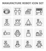 Robot And Production Industrial Work Vector Icon Design For Production Work Graphic Design Element. poster