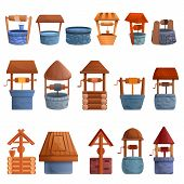 Water Well Icons Set. Cartoon Set Of Water Well Vector Icons For Web Design poster